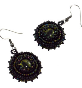 goth earrings dark green