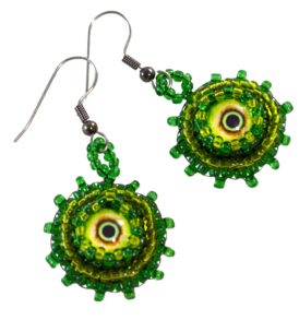 horror earrings green monster eyes