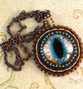 Cat Eye Necklace in Brown and Teal