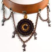 Brown Steampunk Leather Choker