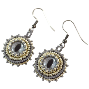 Silver Cats Eye Earrings