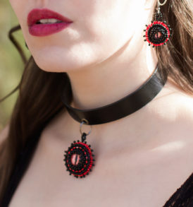 black and red choker jewelry set
