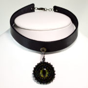 green choker gothic leather jewelry