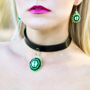 Green Dragon Eye Earrings