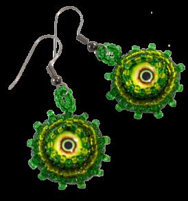 horror earrings green monster eyes