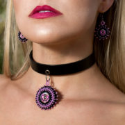 pink womens choker necklace