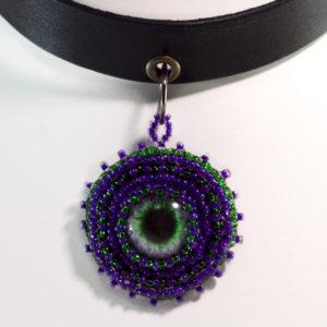 Purple Choker Necklace Eye Pendant