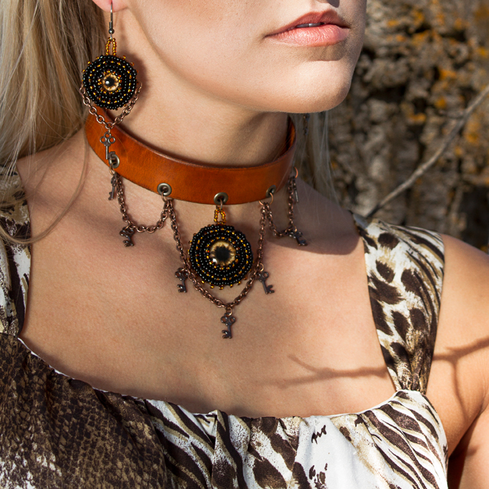 Brown Leather Steampunk Choker Set Twisted Pixies