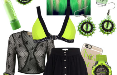 goth punk outfit neon green