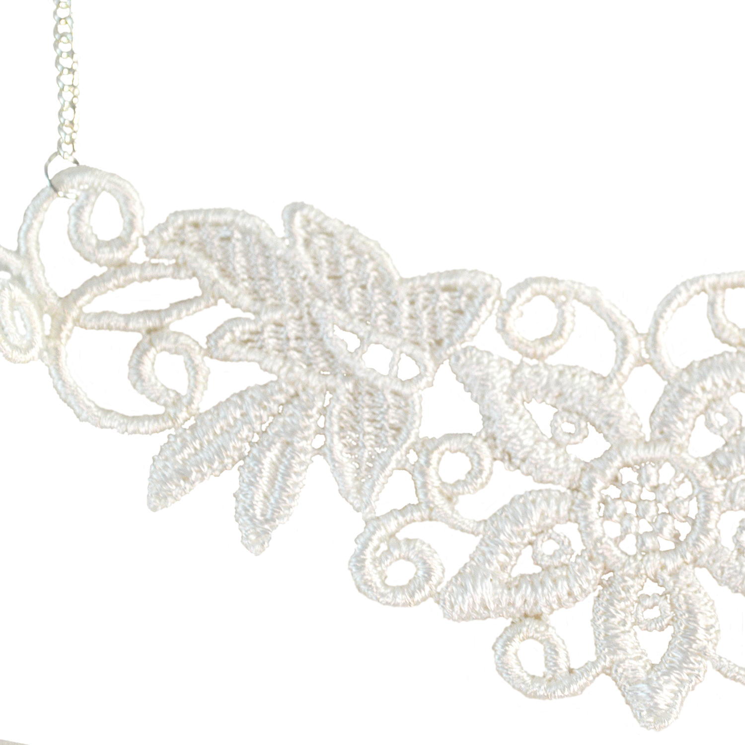 603eab7eafbeb White Lace Necklace - Simple Lace Applique Jewelry - Twisted Pixies