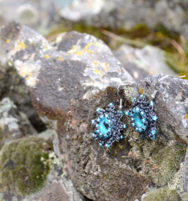 blue octopus eye earrings