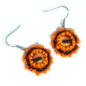 orange octopus eye earrings