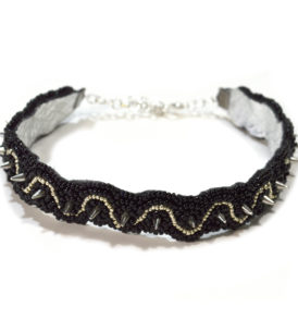 black and silver choker